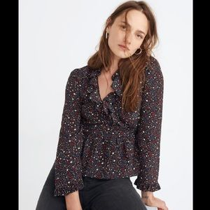 Madewell Silk Ruffle-Hem Wrap Top in Starry Night